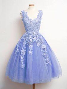 Inexpensive V-neck Sleeveless Lace Up Vestidos de Damas Lavender Tulle