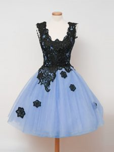 Knee Length Light Blue Quinceanera Court Dresses Tulle Sleeveless Lace