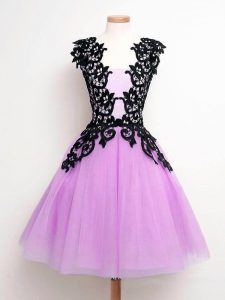 Shining Lilac Sleeveless Tulle Lace Up Dama Dress for Prom and Party and Wedding Party