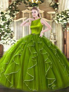 Olive Green Organza Clasp Handle Vestidos de Quinceanera Sleeveless Floor Length Ruffles