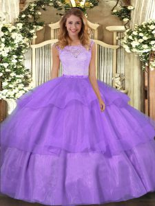 Scoop Sleeveless Clasp Handle Ball Gown Prom Dress Lavender Organza