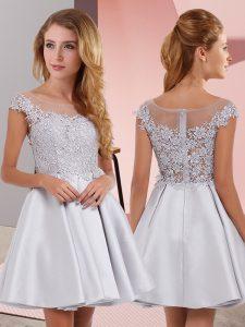 Sleeveless Zipper Mini Length Lace Damas Dress