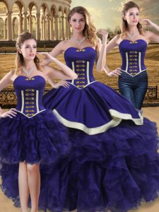 Purple Sleeveless Organza Lace Up 15 Quinceanera Dress for Sweet 16 and Quinceanera