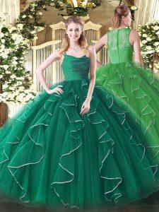 Chic Ball Gowns Sweet 16 Quinceanera Dress Peacock Green Straps Organza Sleeveless Floor Length Zipper