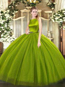 Attractive Olive Green Sleeveless Floor Length Belt Clasp Handle 15th Birthday Dress