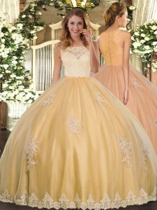 Ball Gowns Quince Ball Gowns Gold Scoop Tulle Sleeveless Floor Length Clasp Handle