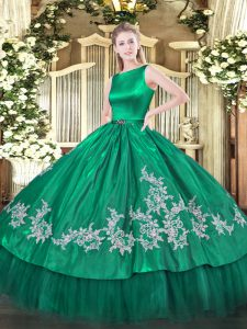 Chic Turquoise Ball Gowns Satin and Tulle Scoop Sleeveless Embroidery Floor Length Clasp Handle 15th Birthday Dress