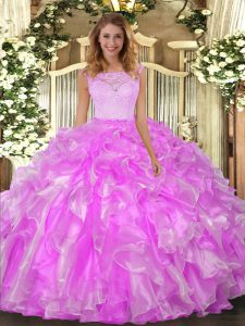 Super Lilac Organza Clasp Handle Sweet 16 Dress Sleeveless Floor Length Lace and Ruffles