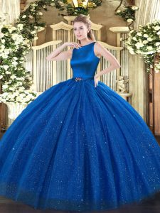 Cheap Blue Ball Gowns Scoop Sleeveless Tulle Floor Length Clasp Handle Belt Quinceanera Gowns