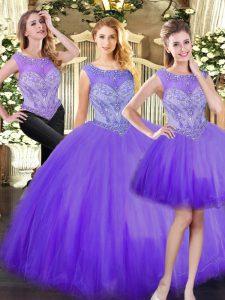 Exceptional Eggplant Purple Three Pieces Scoop Sleeveless Tulle Floor Length Zipper Beading Quinceanera Dress