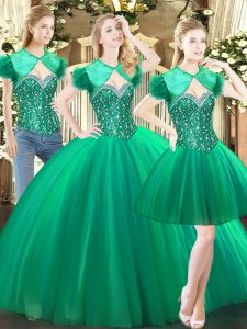 Superior Beading Quinceanera Gowns Green Lace Up Sleeveless Floor Length