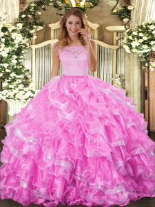 Cheap Rose Pink Scoop Neckline Lace and Ruffled Layers Quince Ball Gowns Sleeveless Clasp Handle