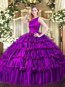 Sleeveless Organza Floor Length Clasp Handle 15 Quinceanera Dress in Eggplant Purple with Ruffled Layers