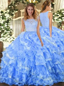 Light Blue Ball Gowns Lace and Ruffled Layers Quince Ball Gowns Clasp Handle Organza Sleeveless Floor Length