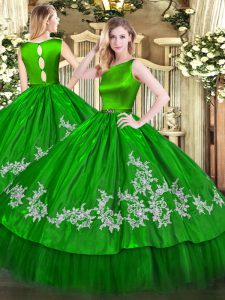 Adorable Floor Length Ball Gowns Sleeveless Green Ball Gown Prom Dress Clasp Handle