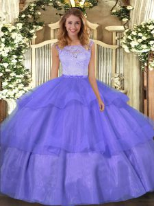 Floor Length Clasp Handle Sweet 16 Dresses Lavender for Military Ball and Sweet 16 and Quinceanera with Lace and Ruffled Layers