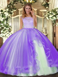 Captivating Floor Length Clasp Handle Quinceanera Gowns Lavender for Military Ball and Sweet 16 and Quinceanera with Lace and Ruffles