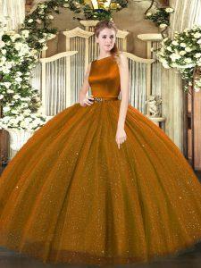 Brown Sleeveless Floor Length Belt Clasp Handle 15th Birthday Dress