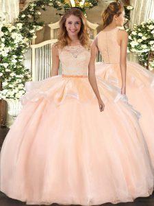 Spectacular Scoop Sleeveless Clasp Handle Vestidos de Quinceanera Peach Organza