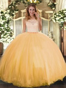 Gold Sleeveless Tulle Clasp Handle Vestidos de Quinceanera for Military Ball and Sweet 16 and Quinceanera