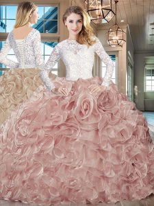 Champagne Lace and Fading Color Lace Up Scoop Long Sleeves Sweet 16 Dress Brush Train Lace and Ruffles