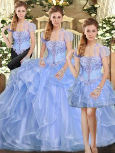 Fine Floor Length Lavender Sweet 16 Dresses Organza Sleeveless Beading and Ruffles