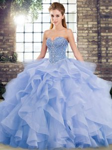 Glorious Sweetheart Sleeveless 15 Quinceanera Dress Brush Train Beading and Ruffles Lavender Tulle