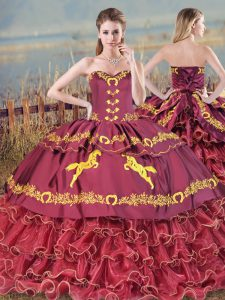 Lace Up 15th Birthday Dress Burgundy for Sweet 16 and Quinceanera with Embroidery and Ruffled Layers Brush Train