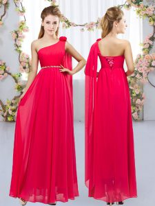 Sexy Red Court Dresses for Sweet 16 Wedding Party with Beading and Hand Made Flower One Shoulder Sleeveless Lace Up