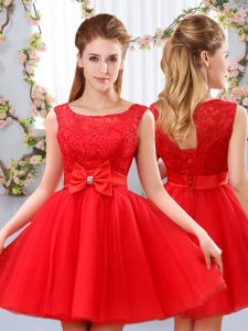 Gorgeous Red A-line Tulle Scoop Sleeveless Lace and Bowknot Mini Length Lace Up Quinceanera Court of Honor Dress