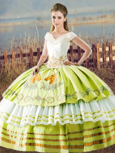 Superior Embroidery and Ruffled Layers Quinceanera Gown Yellow Green Lace Up Sleeveless Floor Length