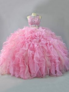 Sleeveless Floor Length Beading and Ruffles Lace Up Vestidos de Quinceanera with Pink