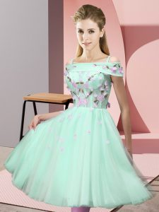Gorgeous Apple Green Lace Up Off The Shoulder Appliques Quinceanera Court of Honor Dress Tulle Short Sleeves