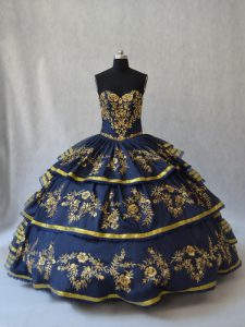 Romantic Navy Blue Ball Gowns Organza Sweetheart Sleeveless Embroidery and Ruffled Layers Floor Length Lace Up Sweet 16 Dress