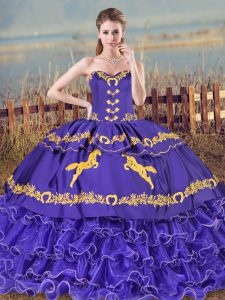 Purple Sleeveless Embroidery and Ruffled Layers Lace Up Quinceanera Gowns