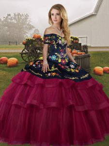 Delicate Off The Shoulder Sleeveless Brush Train Lace Up Sweet 16 Quinceanera Dress Fuchsia Tulle