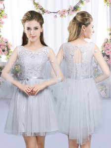 Romantic Grey Tulle Lace Up Damas Dress Sleeveless Mini Length Lace and Belt