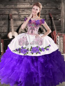 Custom Designed Purple Ball Gowns Organza Off The Shoulder Sleeveless Embroidery and Ruffles Floor Length Lace Up Vestidos de Quinceanera