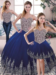 Superior Royal Blue Three Pieces Tulle Sweetheart Sleeveless Embroidery Floor Length Lace Up Quince Ball Gowns