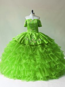 Pretty Sleeveless Lace Up Floor Length Embroidery and Ruffled Layers Vestidos de Quinceanera