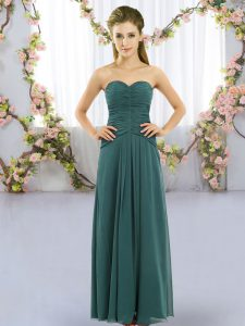 Flare Empire Quinceanera Court of Honor Dress Peacock Green Sweetheart Chiffon Sleeveless Floor Length Lace Up