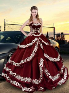 Top Selling Floor Length Wine Red 15th Birthday Dress Sweetheart Sleeveless Lace Up