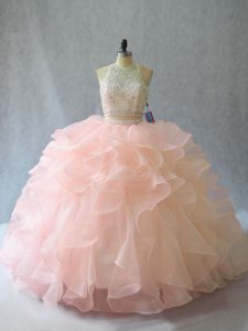 Halter Top Sleeveless Brush Train Backless Quinceanera Gown Peach Organza