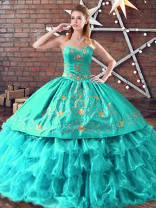 Beautiful Aqua Blue Vestidos de Quinceanera Sweet 16 and Quinceanera with Embroidery and Ruffled Layers Sweetheart Sleeveless Lace Up