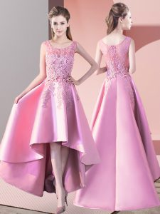 Custom Designed A-line Quinceanera Court of Honor Dress Baby Pink Scoop Satin Sleeveless High Low Zipper