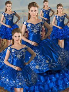 Latest Royal Blue Sleeveless Satin Lace Up Quinceanera Dresses for Sweet 16 and Quinceanera