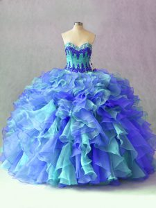 Multi-color Sweetheart Lace Up Beading and Appliques and Ruffles Vestidos de Quinceanera Sleeveless
