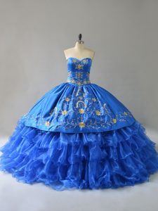 Royal Blue 15 Quinceanera Dress Sweet 16 and Quinceanera with Embroidery and Ruffles Sweetheart Sleeveless Lace Up