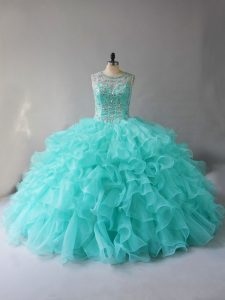Stunning Aqua Blue Ball Gowns Scoop Sleeveless Organza Lace Up Beading and Ruffles Sweet 16 Dresses