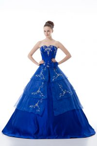 Fine Royal Blue Organza Lace Up V-neck Sleeveless Floor Length Quinceanera Dresses Embroidery and Ruffled Layers